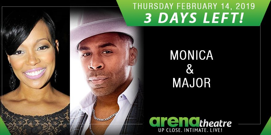 3 DAYS LEFT! 🔥🔥🔥 #ValentinesOfLoveConcert: Monica and special guest Major LIVE in concert at #ArenaTheatre! Thursday, February 14, 2019! This is a must-see concert! Get your tickets now!  👉https://bit.ly/2tgiJMV -- #LIVEShow #Houston #ValentinesDay