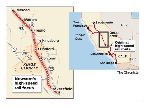 Gov. Newsom says high-speed rail in California may be limited to the Central Valley:https://t.co/3EDkPcYnqj    'There simply isn't a path to get from Sacramento to San Diego, let alone from San Francisco to L.A. I wish there were. '