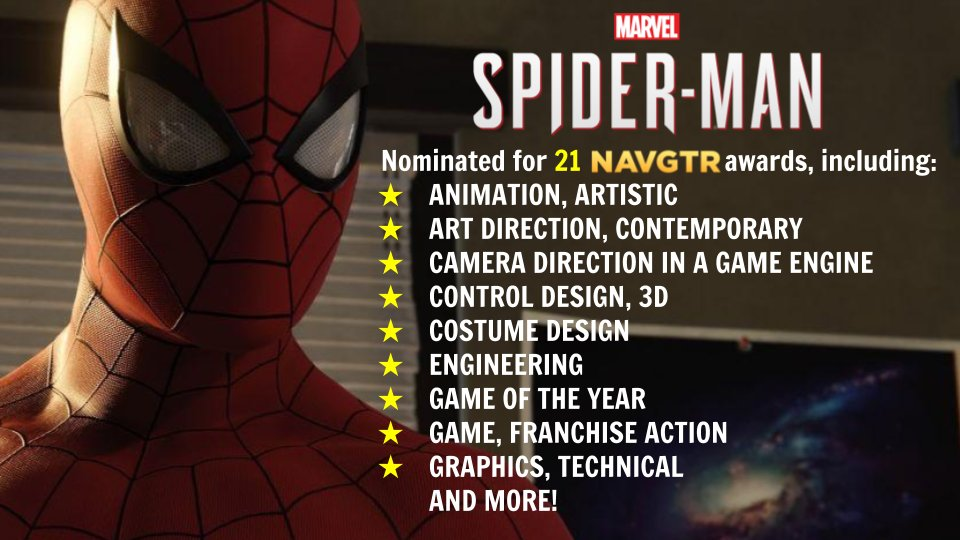 What a year for the Spider!   Congrats to the talented folks w/ @insomniacgames for doing our favorite web slinger justice and landing an amazing amount of noms in the process!  Visit  http:// navgtr.org/nominees  &nbsp;   for the full list of nominations for #SpiderManPS4.<br>http://pic.twitter.com/mzlCMMVyOk