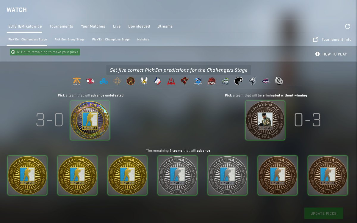 Katowice Viewer Pass holders have 12 hours left to make Challengers Stage picks in the Pick'Em Challenge to be eligible for the Diamond Event Coin! Here are our picks -- let's see yours!