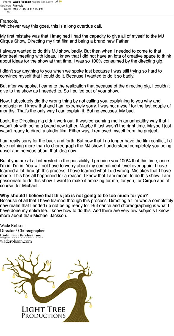 Robson's email to Cirque du Soleil May 21, 2011