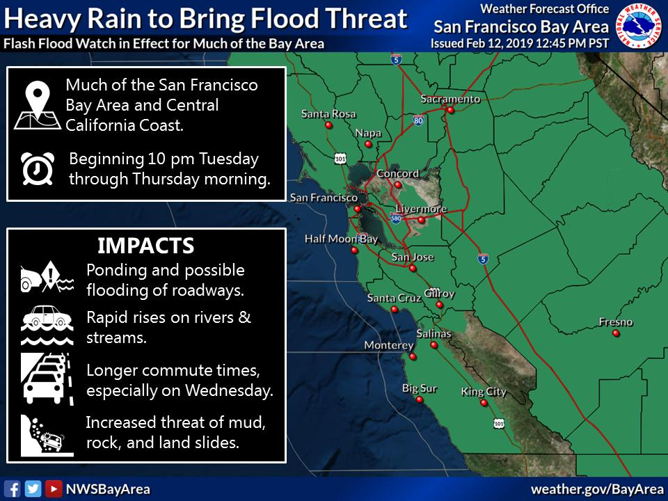 Reminder: Flash Flood Watch goes into effect for much of the Bay Area beginning 10 pm Tuesday through Thursday morning. If you encounter flooded roadways: TURN AROUND, DON&#39;T DROWN! #CAwx #AtmosphericRiver<br>http://pic.twitter.com/8cQTs4rT1O