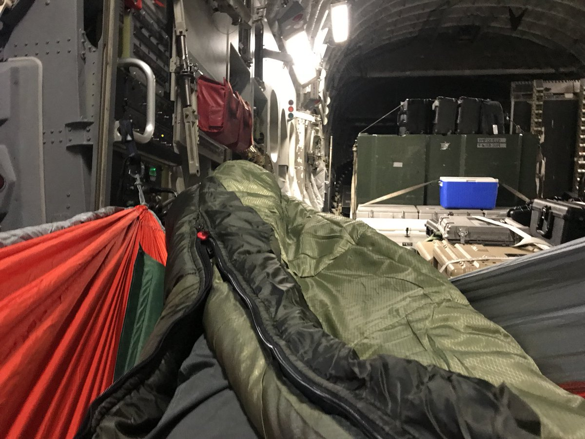Woke up in Afghanistan, was in Iraq this afternoon, & going to bed in Brussels. Thankful to the soldier for lending me a hammock in flight!