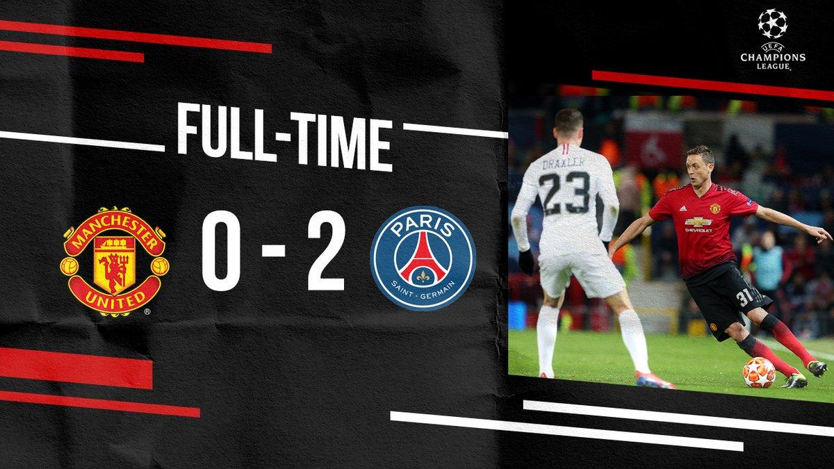 نهاية المباراة.  #يونايتد 0 - 2 باريس #UCL