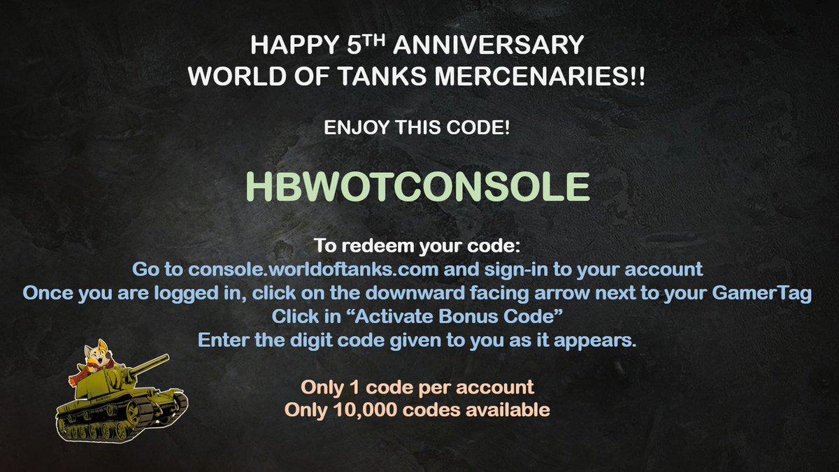 World of tanks mercenaries codes