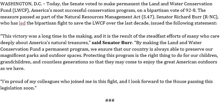 On an overwhelming, bipartisan vote of 92-8, the Senate votes to #SaveLWCF. My full statement here: https://www.burr.senate.gov/press/releases/senate-votes-to-make-land-and-water-conservation-fund-permanent …