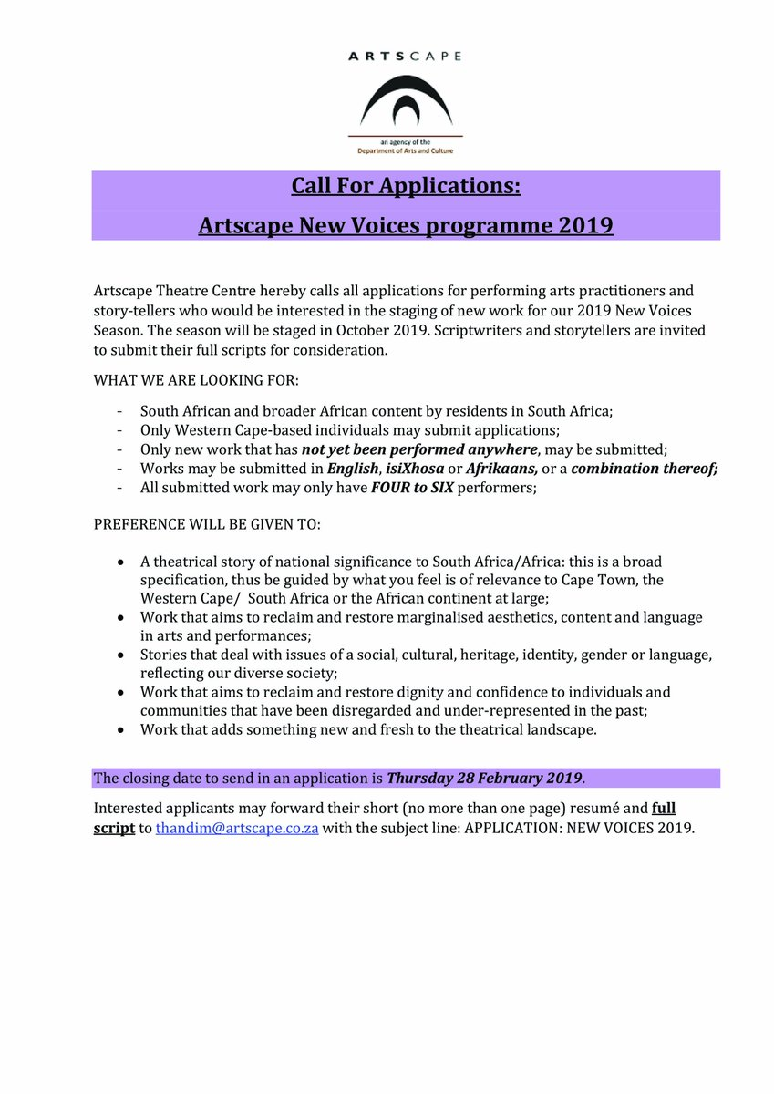 CALL FOR APPLICATIONS! Artscape Theatre Centre is calling for applications for performing arts practitioners & story-tellers interested in the staging of new work for our 2019 New Voices Season. All relevant information, & helpful FAQ's can be found on this post.