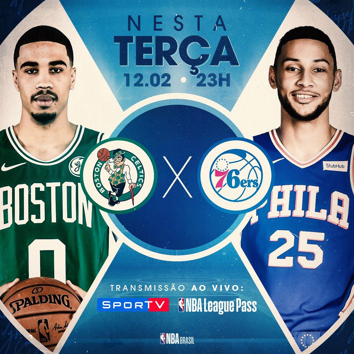 Tem jogo treta pela temporada regular da #NBA entre #BostonCeltics de #KyrieIrving vs #Philadelphia76ers do #AllStar #BenSimmons #CUsRise #HereTheyCome #BOSvsPHI #NBAnoSporTV #NBAAllStar #JoelEmbiid #JasonTatum #TDGarden #NBATwitter #Basketball #Celtics #76ers