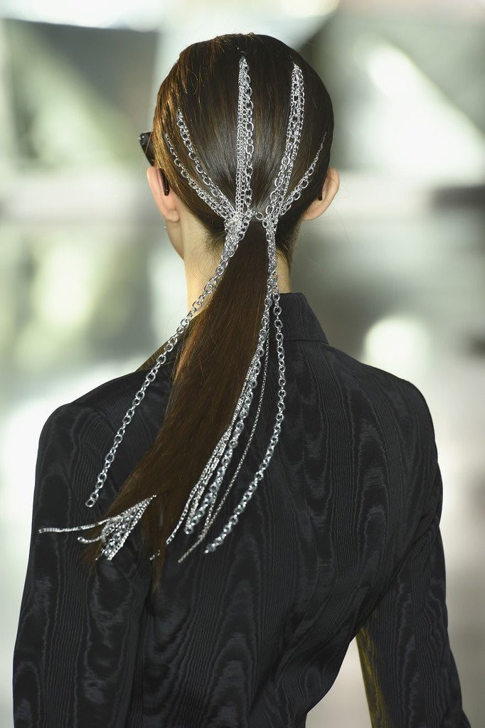 Loved this silver chain ponytail created by @justinemarjan and @TRESemme for our Fall '19 show! #TRESnyfw  #TRESpartner