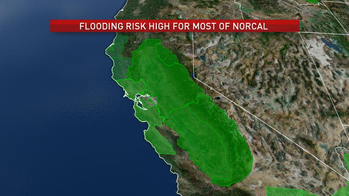 The flooding risk footprint in California is a large one, flood watches/flash flood watches covering most of NorCal eastward into the Sierra foothills, down the Central Valley and west to the entire Bay Area #CAwx #atmosphericriver<br>http://pic.twitter.com/0TMqvQZZ5l