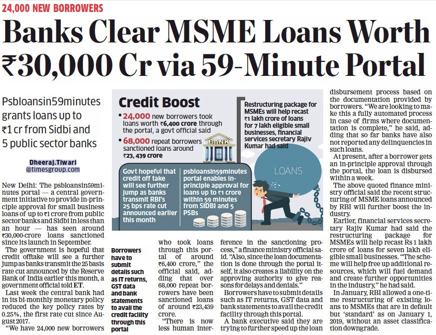 Powering MSMEs, Powering Growth: Banks clear MSME loans worth ₹30,000 crore via the 59-Minute portal since it's launch in Sep'18.   MSMEs can apply at https://t.co/jOpCcddgpV   https://t.co/fb7OBJ01sc