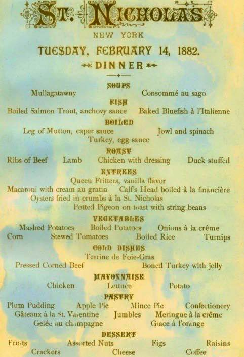 Valentine's Day menu, St. Nicholas Hotel, NYC, tomorrow 1882: