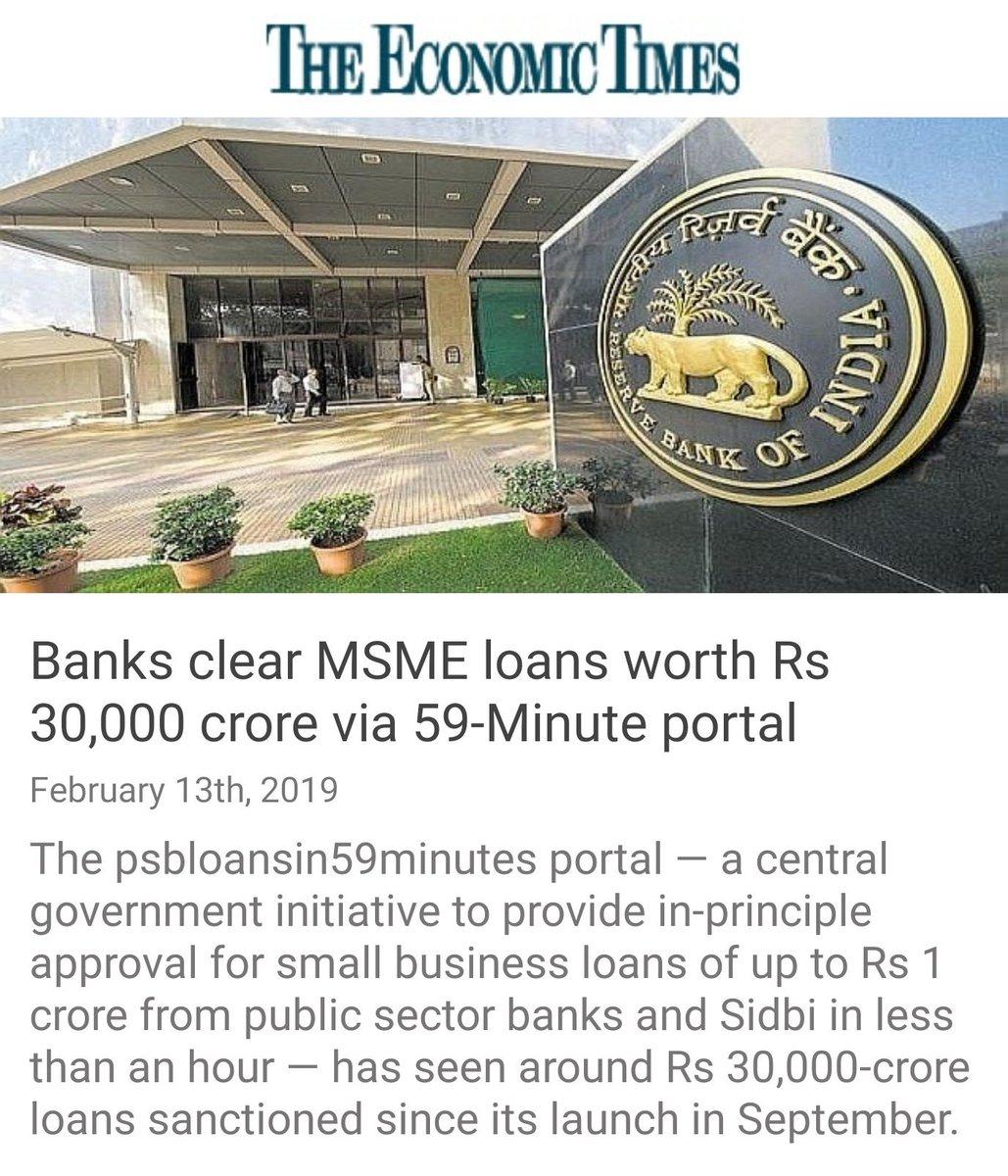 Banks clear MSME loans worth Rs 30,000 crore via 59-Minute portal https://economictimes.indiatimes.com/small-biz/startups/newsbuzz/banks-clear-msme-loans-worth-rs-30000-crore-via-59-minute-portal/articleshow/67966428.cms?from=mdr…  via NaMo App