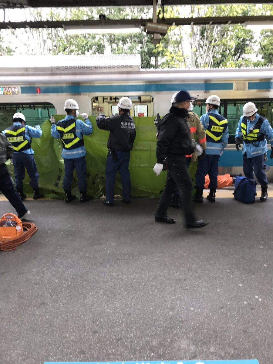 上中里駅で飛び込み自殺による人身事故の現場画像