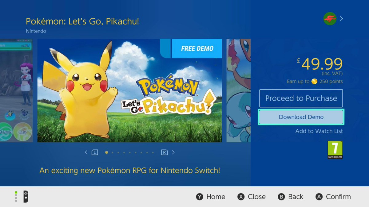 Serebii Net On Twitter Serebii Update The Demo For Pokemon Let S Go Pikachu Pokemon Let S Go Eevee Has Been Added To The Nintendo Switch Eshop Https T Co Nwladn57aq Https T Co 9qiymg4aww