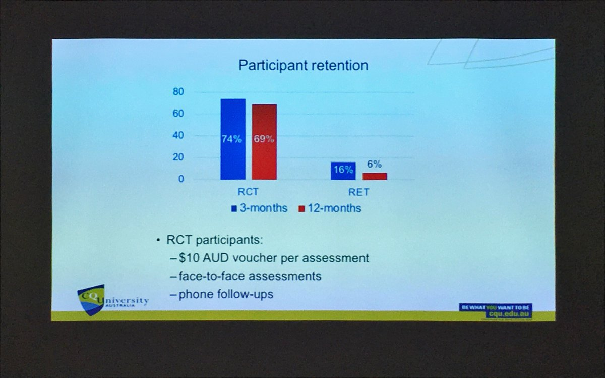@CorneelVDL showing the effect a bit of contact with study participants can do in terms of attrition from #digitalhealth interventions in a #RCT vs #RET (randomised ecological trial) #isrii10 @ISRIIKiwi