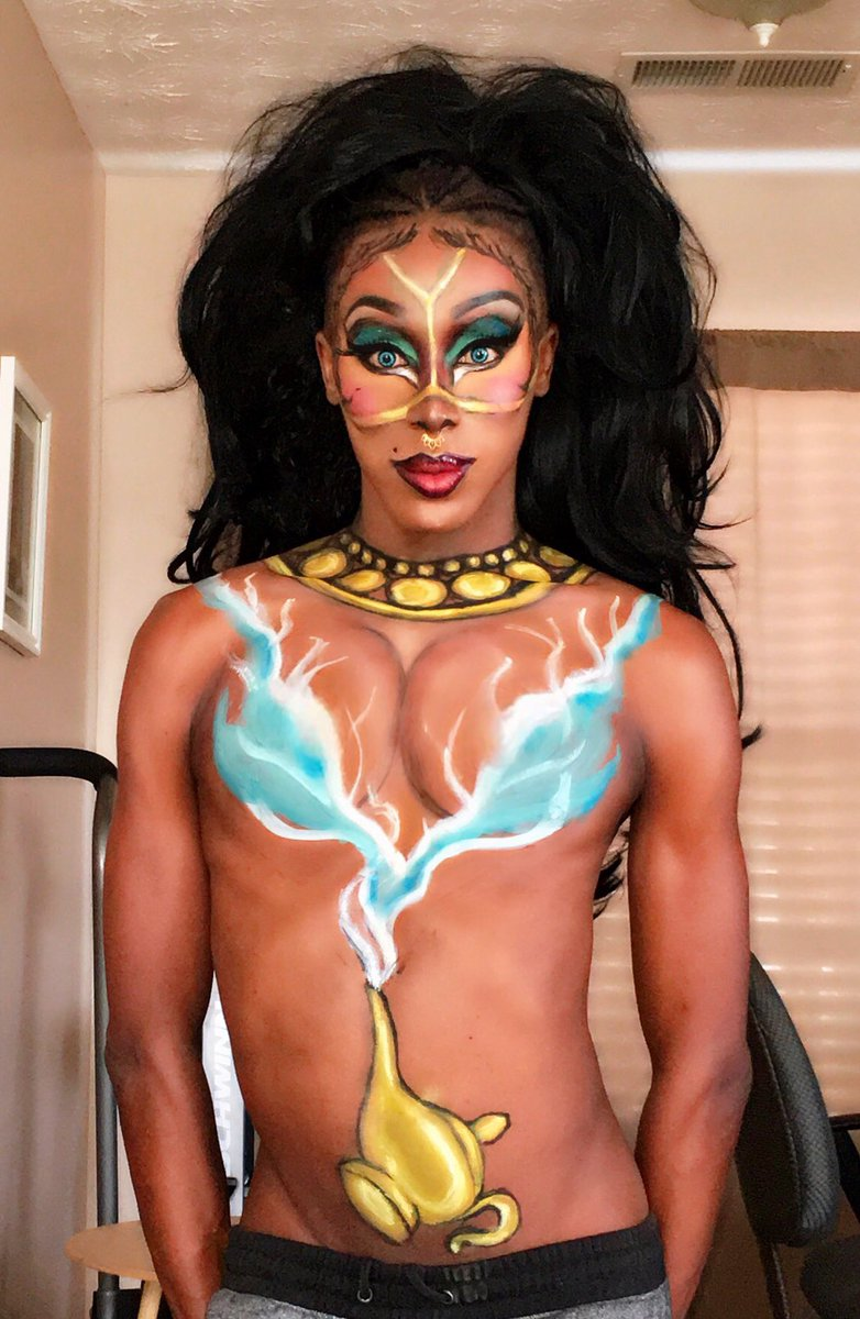 Flashback to my queen in the lamp look. Amongst this @disneyaladdin hype #ninaboninabrown #DragQueen #rpdr9 #RPDR11 #RPDR #RPDRAllStars4 #makeup #Aladdin #Aladdin2019 #Aladdintrailer #Disney #bodypaint<br>http://pic.twitter.com/dPUdox1Xuv