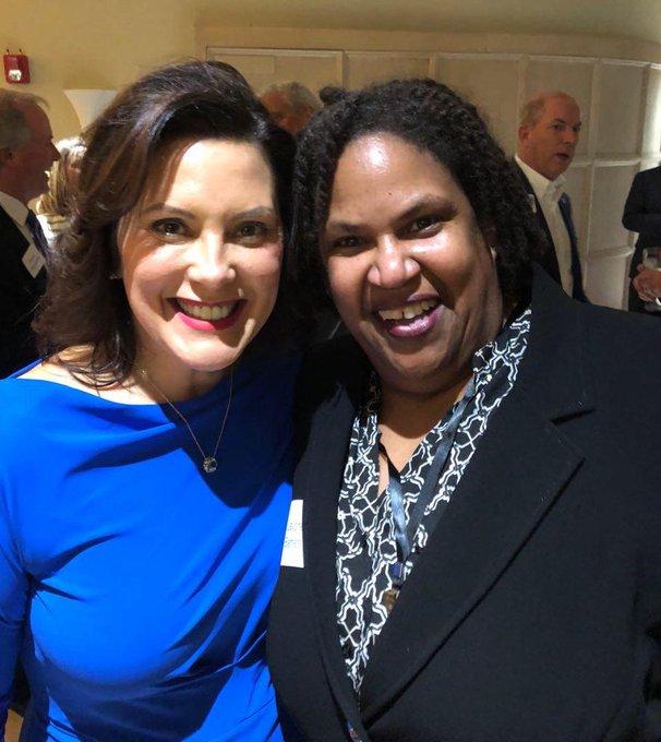 Michigan Governor Gretchen Whitmer and Michigan Democratic Party Chair Lavora Barnes