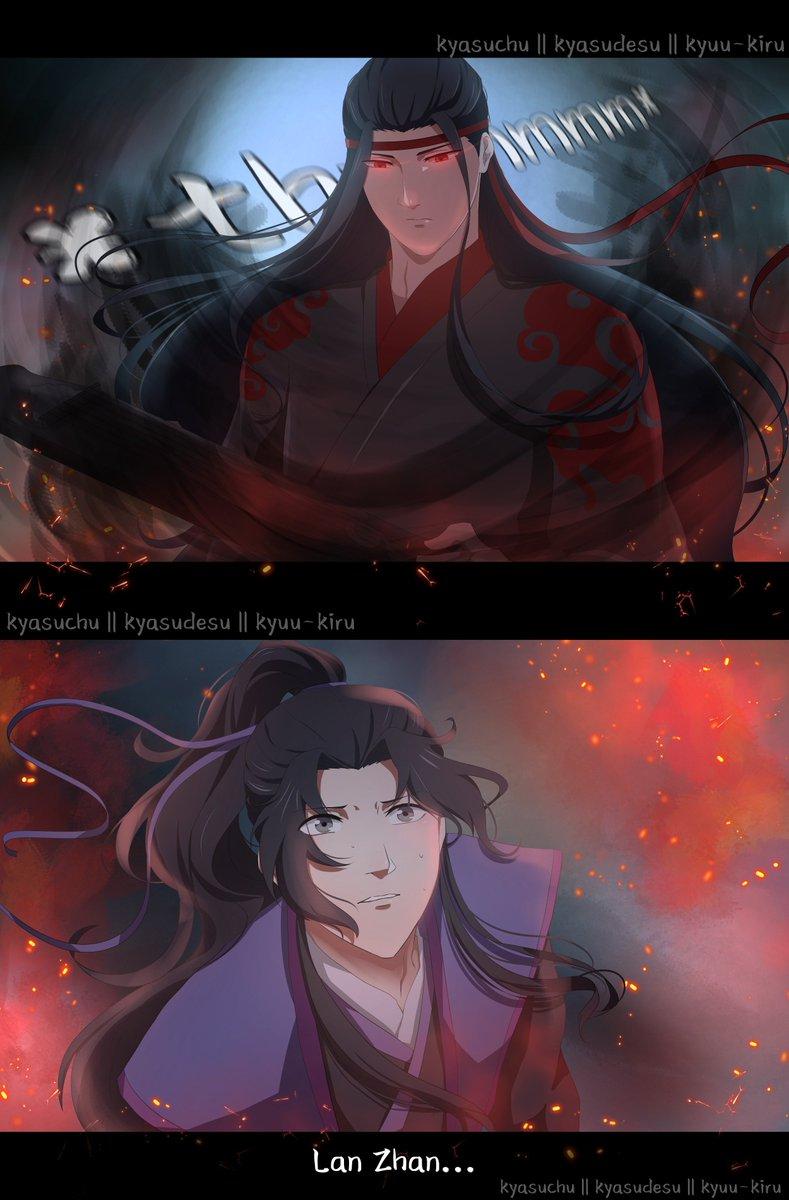 Tried to make it into a fake anime screenshot~ What if LWJ was the Yiling Patriarch instead? :D<  #MDZS #LanWangji #WeiWuxian #MoDaoZuShi #GrandmasterofDemonicCultivation #魔道祖师 #魏无羡 #蓝忘机