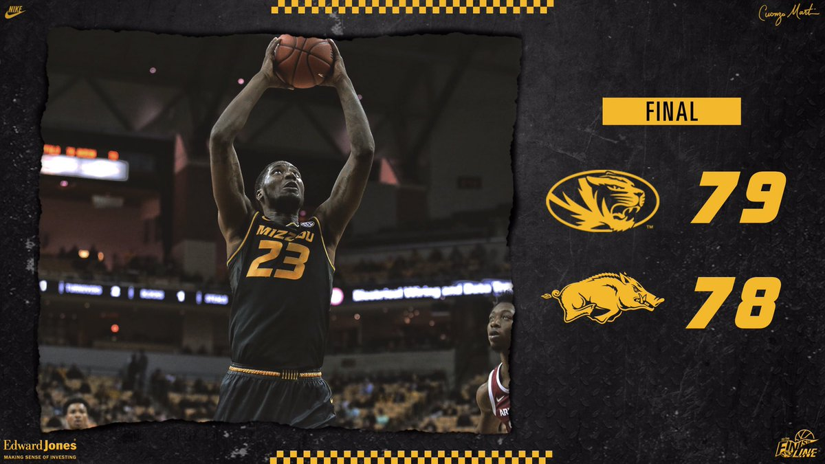 😅  BIG W!   FINAL: #Mizzou 79, Arkansas 78  #ToTheFinishLine 🏁🐅
