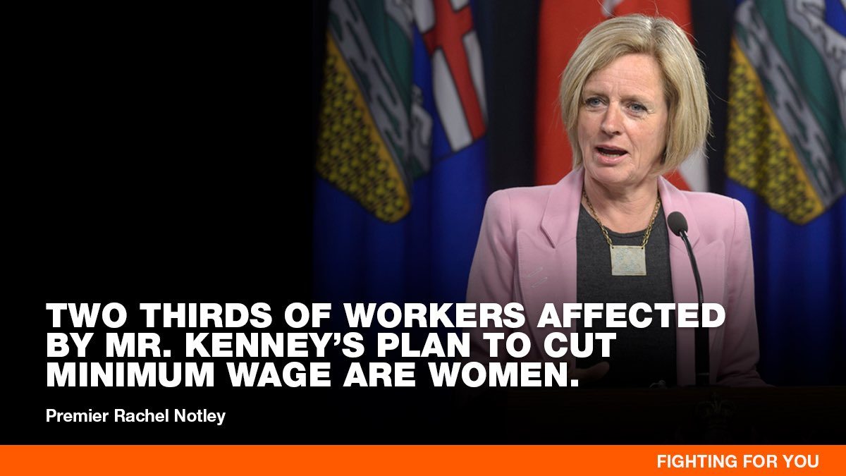 Who benefits from a good minimum wage? Women. Single parents. Families who are working multiple full-time jobs and still struggling to buy food & pay rent. Young people who are working to build a future... https://www.alberta.ca/alberta-minimum-wage-changes.aspx…  I'm fighting for them and I'm #FightingForYou