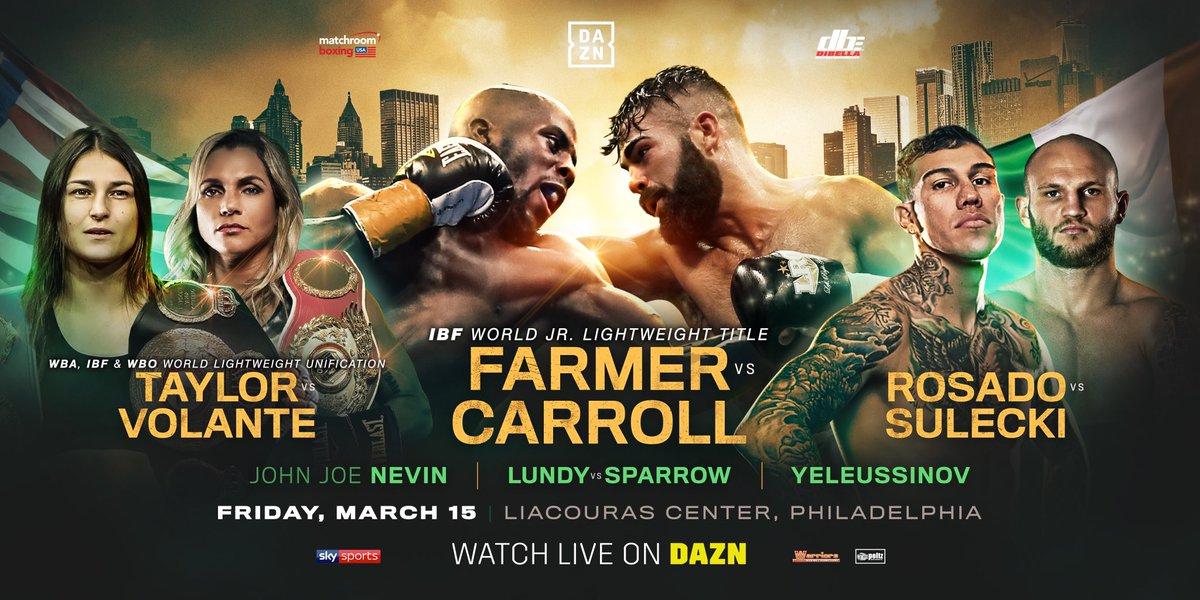 March 15 live on @DAZN_USA @MatchroomBoxing #RosadoSulecki #Kgr #Philly at @LiacourasCenter