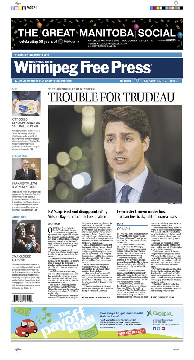Trouble for Trudeau on the front of Wednesday's @WinnipegNews #wfp