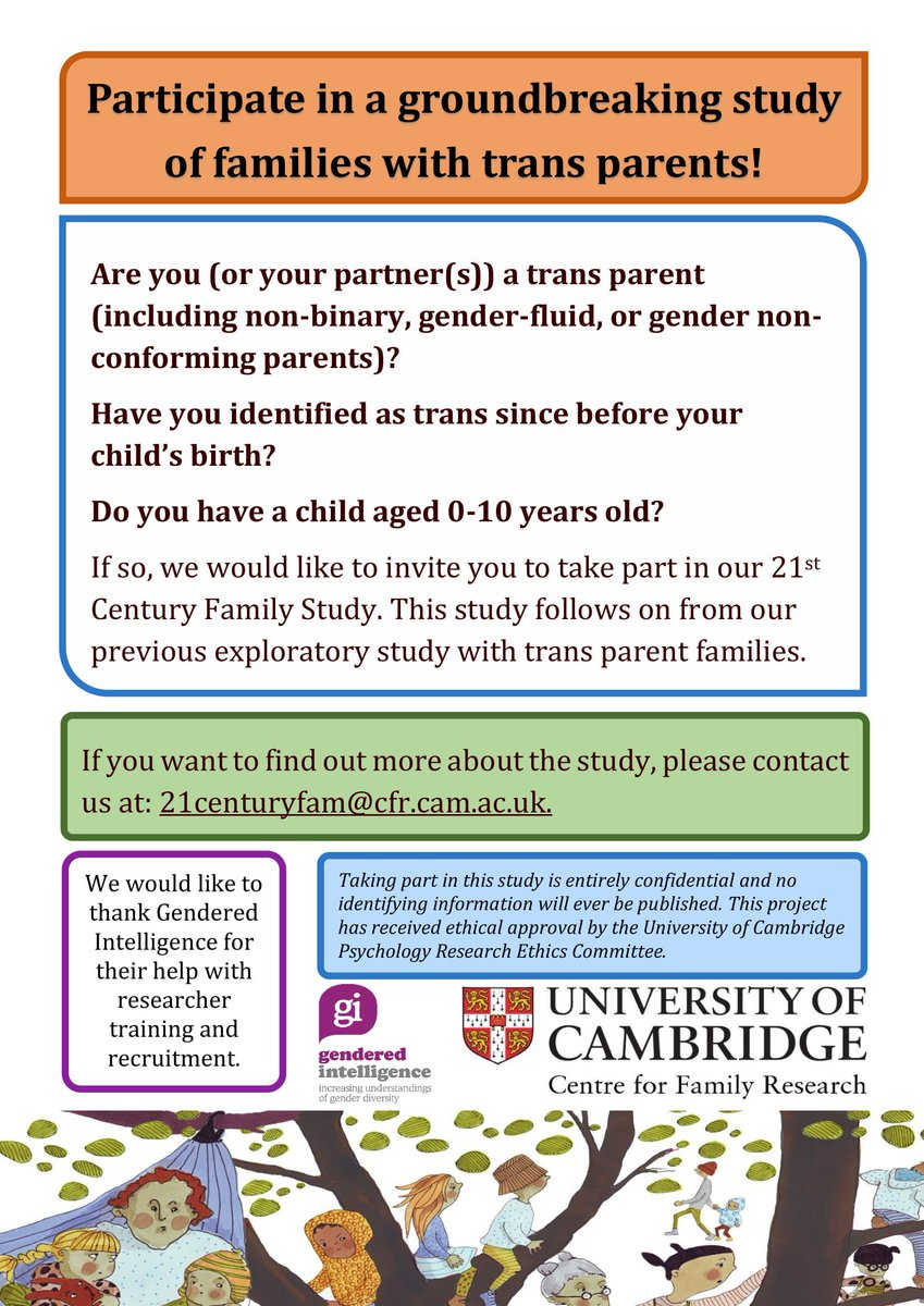 Are you a trans/non-binary/gender-nonconforming parent of a child aged 0-10? University of Cambridge Centre for Family Research @CFR32 would like to invite you to take part in their exciting new 21st Century Family Study. See below or email for info 21centuryfam@cfr.cam.ac.uk.
