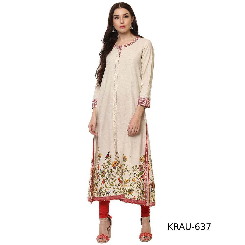 5b53e81d08 Beautiful Cream Ethnic Wear Cotton Slub Designer Mill Printed   Hand Work  Long Kurta Check here   http   bit.ly 2OdaayB  cream  embroideredtunic   iranian ...