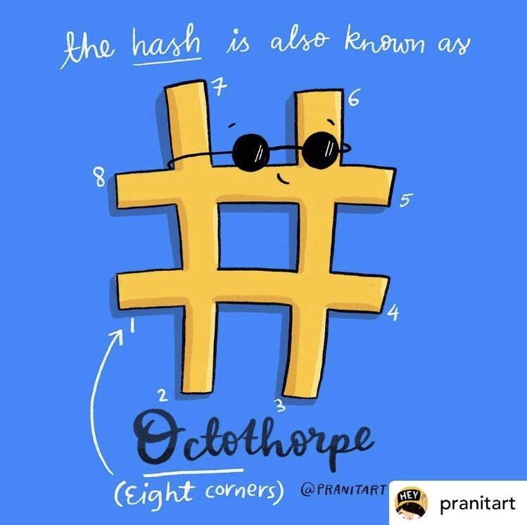 DID YOU KNOW!  #Repost @pranitart #Octothorpe 😎 .⠀⠀⠀⠀ .⠀⠀⠀⠀ .⠀⠀⠀⠀ #1468 #pranitasdrawingaday #type #goodtypetuesday #illustrationartist #thegridlife #typespire #illustree #illustrationdaily #hashtag #dailyfact #funfact