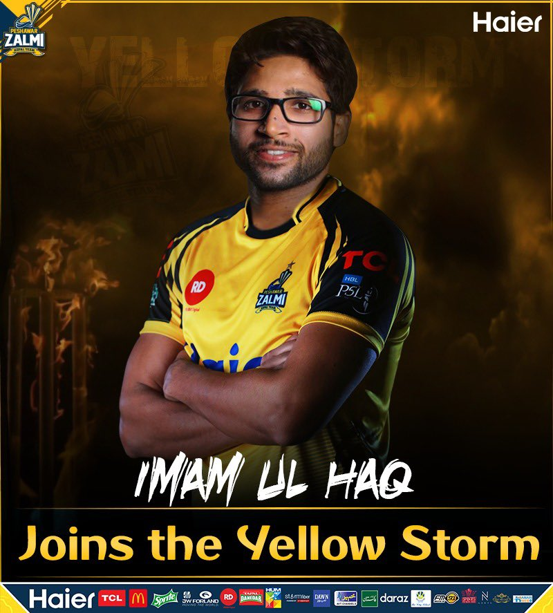 I welcome the very talented cricketer @ImamUlHaq12 into the @PeshawarZalmi squad for PSL 4. I am sure he is going to have a positive impact on the roster of the #YellowStorm. Let's welcome him into the Zalmi Family. ⚡