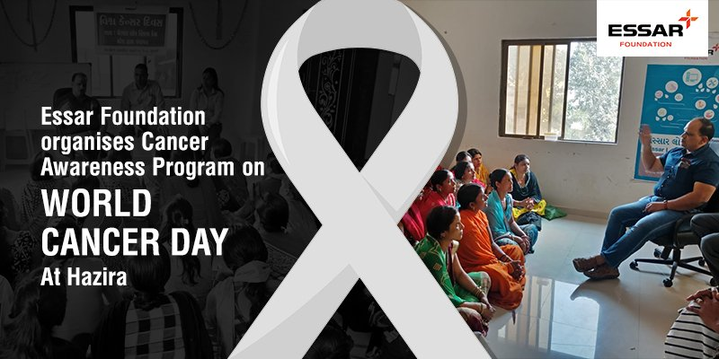 #EssarFoundation observed #WorldCancerDay  by organising an awareness programme for rural women (in Mora) with the support of Gujarat Govt Health Department, Suvali. Dr. Thakur from Surat District Hospital sensitised them on various aspects of cancer– facts, diagnosis, treatment. <br>http://pic.twitter.com/MamahLtBnm