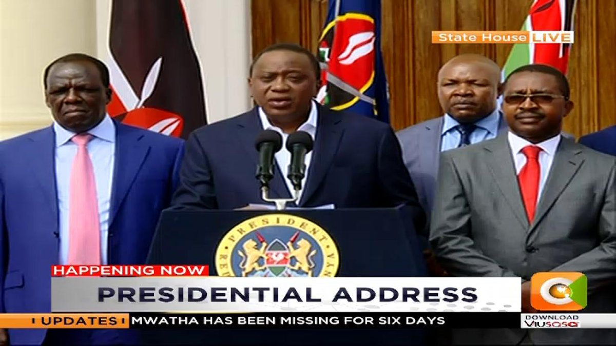 President Kenyatta:  It is disheartening to hear officials of the nursing union declare that they will not obey court orders  One of the most important principles our republic has established is the rule of law and no one is above the law!