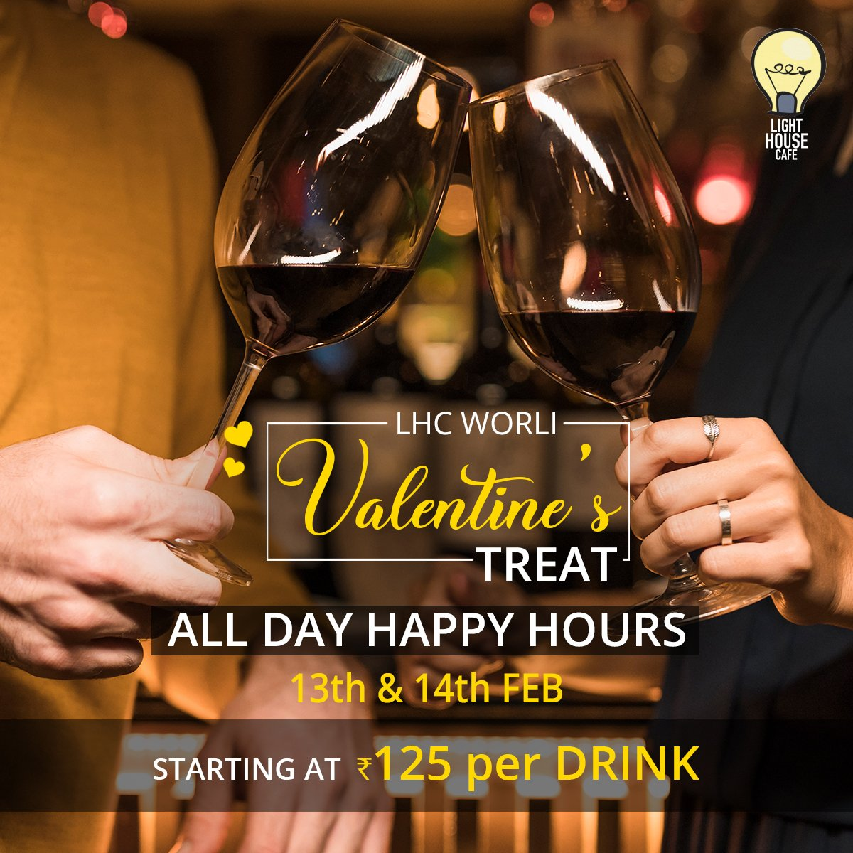 Every love story is unique and beautiful, make it more memorable with our all day long Happy Hours on 13th & 14th Feb starting at Rs. 125 per Drink only at Light House Cafe Mumbai  #LHC #Worli #Mumbai #Zomato #Blogpost #bloggers #Weekday #CurlyTales #Weekends #Thingstodo