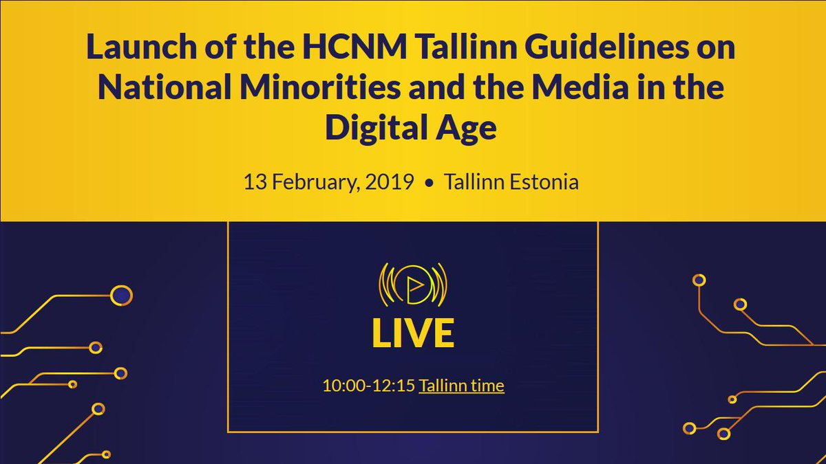 Watch LIVE the launch of the @oscehcnm #TallinnGuidelines on National Minorities and the #Media in the Digital Age. More: http://bit.ly/2N2tWcW
