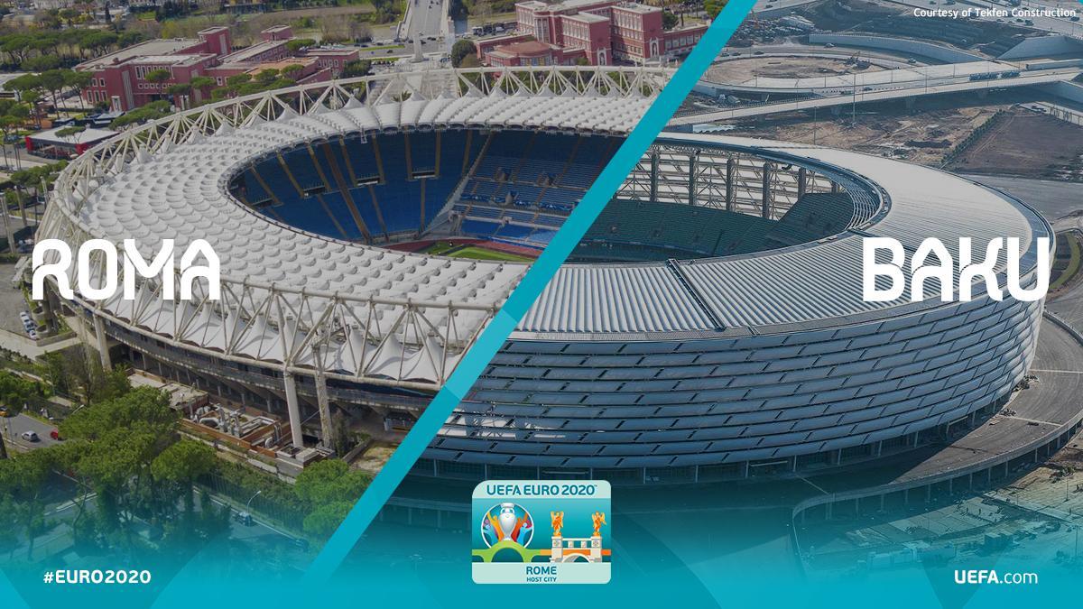 Stadio #Olimpico di #Roma: ultimato nel 1953 e casa di @OfficialASRoma e @OfficialSSLazio, ospiterà l'apertura e 2 gare di Euro2020. Stadio Olimpico di #Baku: inaugurato nel 2015. Nel 2019 ospiterà la #finale di Europa League e alcune partite di Euro2020. #RomaBaku @EURO2020