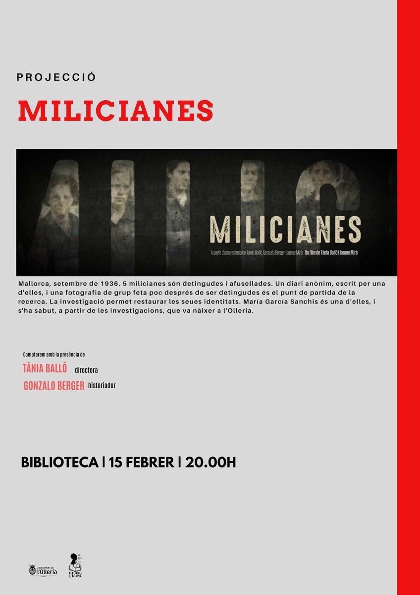 Aquest divendres serem a @aj_lolleria amb el documental #MILICIANES. El 24 d'agost de 1881 va néixer, en aquest municipi del País Valencià, la miliciana Maria Garcia Sanchís @lolleriabiblio @GonzaloBerger @TaniaBallocolel