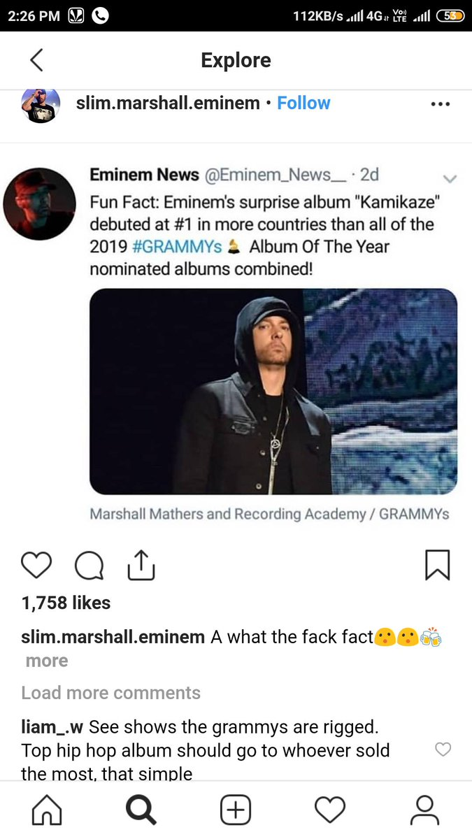 A fun fact ..just found out.. #eminem #GRAMMYs  <br>http://pic.twitter.com/CajNkFDnK5