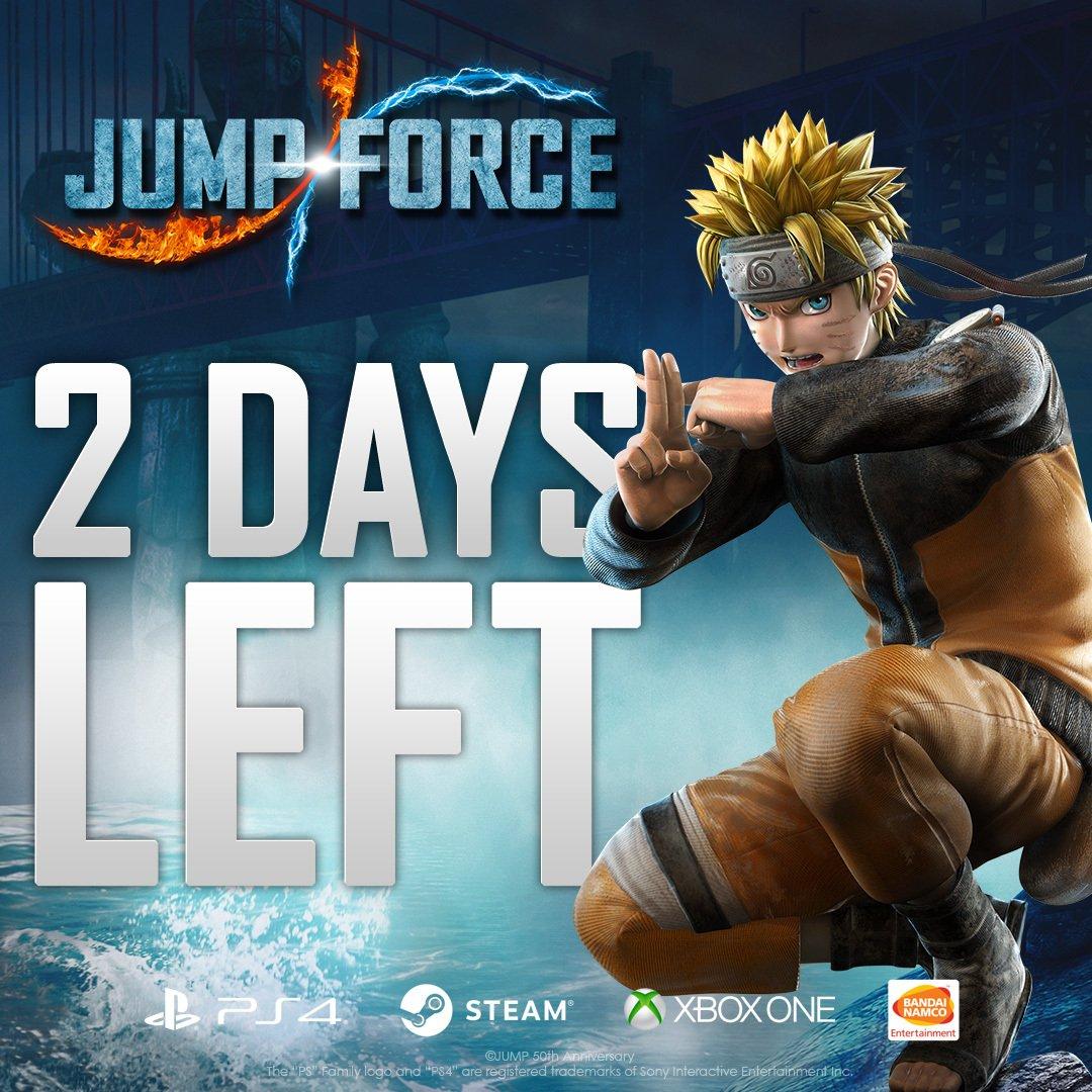 Tra due giorni, ti unirai alla JUMP FORCE! Se sei un ninja esperto, Naruto non potrà mancare nel tuo team. #unite2fight #jumpforce