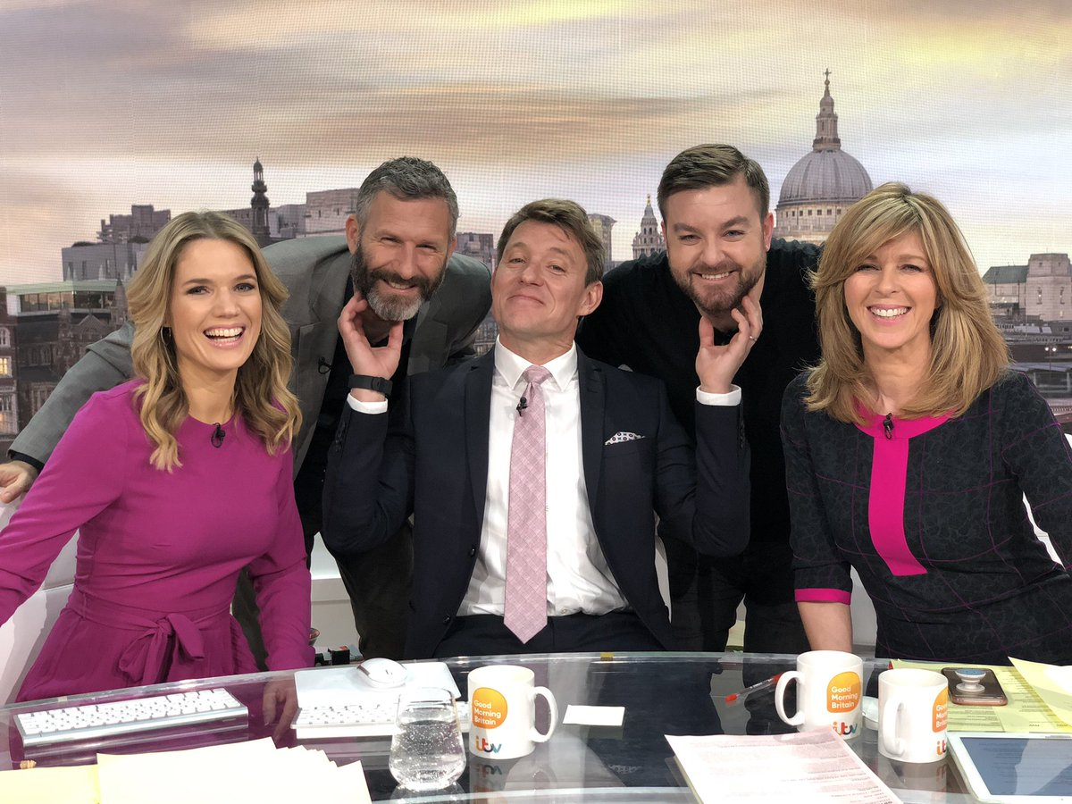 Great laugh chatting with @alex_brooker + @adamhillscomedy I have serious beard envy 🤬 Quick question #isitok to stroke a mans beard youre coveting? Lovely and downey soft would be how I described them - the beards not the lads 😳 #isitok @CharlotteHawkns @kategarraway