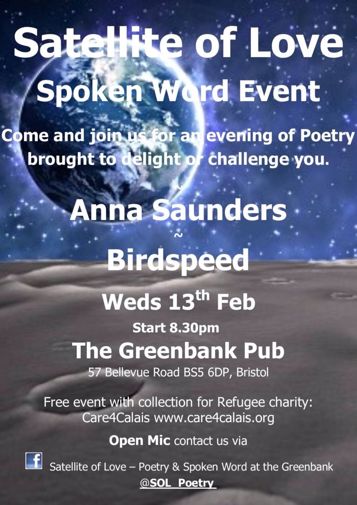 Satellite of Love @SOL_Poetry. Tonights amazing poets are @AnnaSaund1 & @Birdspeedfire Stunning open mic poets sighed up for your delight. Expect candlelight & plenty of love in the room. Bring mother tongues & words for our community poem. See you 8.30pm at @GreenbankEaston X