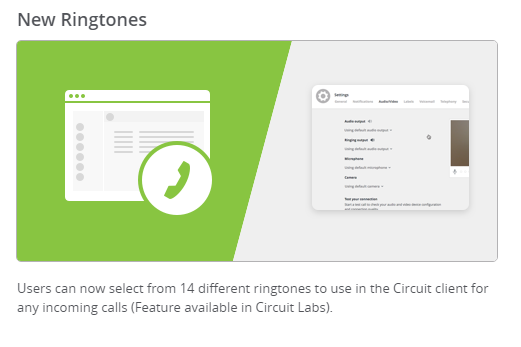 📱🎺 You can now select from 14 different ringtones to use in the Circuit...
