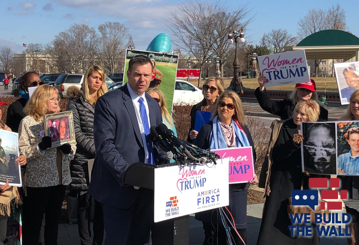 Our advisory board member @KrisKobach1787 is spending his morning on Capitol Hill with Angel Families and @WomenforTrump! These parents shouldn't have suffered the loss of their loved ones and wouldn't have if our border was secure. #WeBuildTheWall @mamendoza480 @SheriffClarke