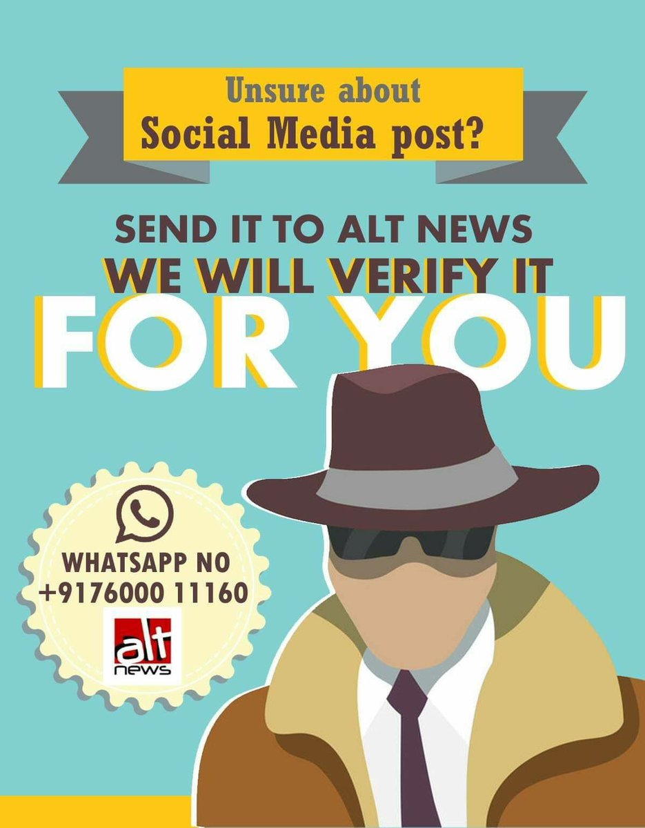 If you come across any social media post that you are not sure of, Please send it to @AltNews WhatsApp number +917600011160. We will verify it for you.  Please save this number and share it among your friends on Facebook/WhatsApp/Twitter. Pls RT. :) https://t.co/ObNaFf4q5v