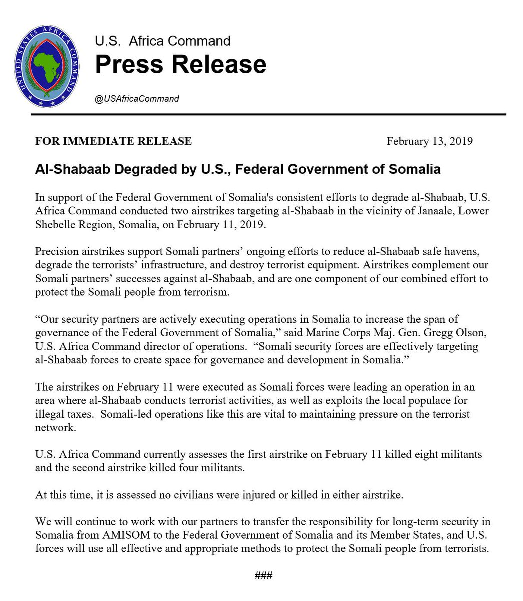 Al-Shabaab Degraded by U.S., Federal Government of Somalia  http://go.usa.gov/xEQQQ