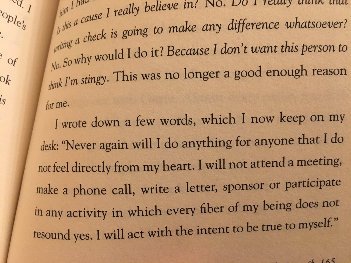 """Never again will I do anything for anyone that I do not feel directly from my heart..I will act with intent to be true to myself...When I accepted that I was a decent, kind, and giving person-whether I said yes or no-I no longer had anything to prove."" -@Oprah #WhatIKnowForSure"