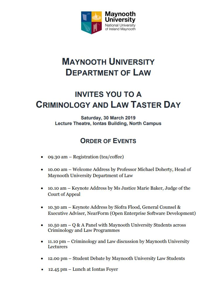 Considering studying #law or #criminology at #MaynoothUni? Spend a morning with the academics and students of the @MaynoothLaw #MaynoothUni to see why our degrees are so popular among #CAO2019 applicants.  https://www.maynoothuniversity.ie/law/events/criminology-and-law-taster-day-2019…