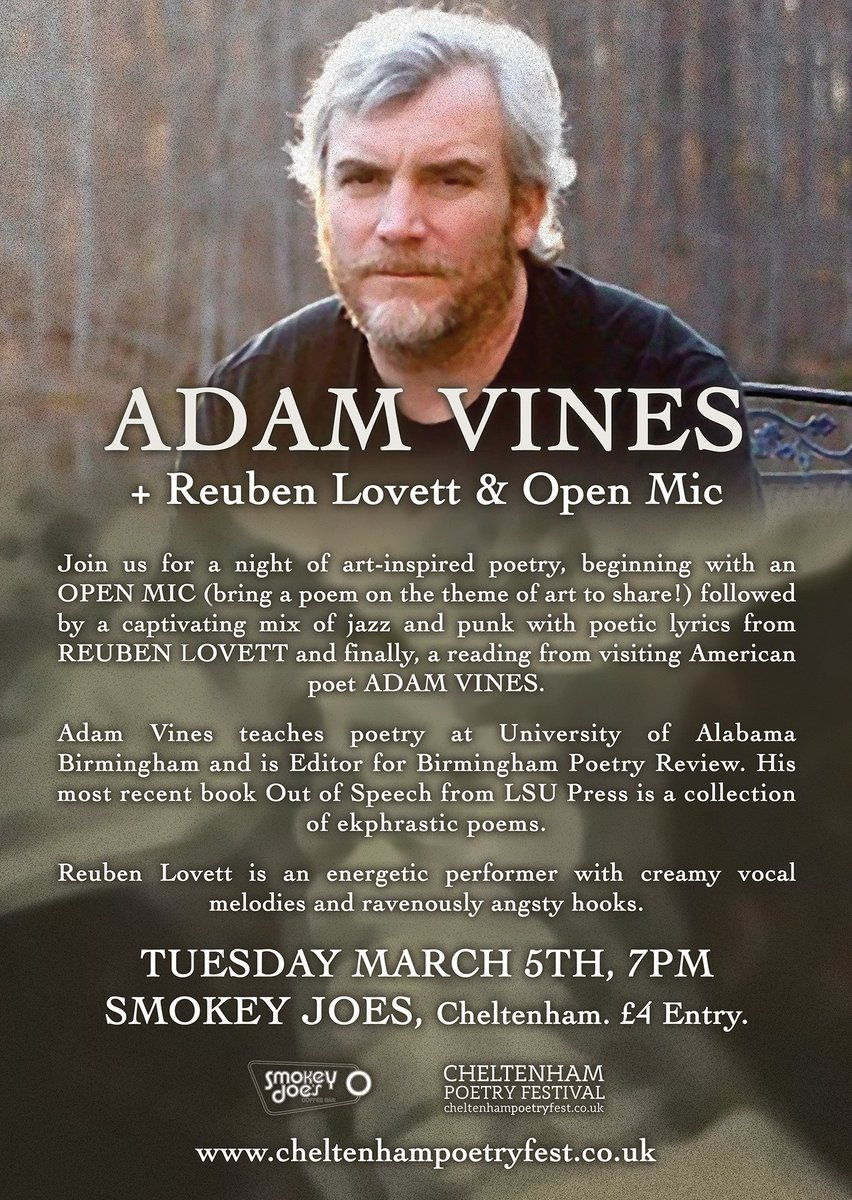We can't quite believe the fact we have iconic American poet #AdamVines coming to read for us in #Cheltenham. Please don't miss your chance to catch him at @SmokeyJoesChelt - the perfect Twin Peaks-esque setting for this lyricist of the wild. With .@Reuben_Lovett #Openmic