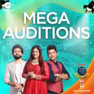 You can't afford to miss this grand musical date with the Champs! Watch out for #SRGMPLilChamps, Mega Auditions, Sat-Sun, 9 PM.  @singer_shaan @TheRichaSharma @AmaalMallik @_ravidubey #MusicSeBadhengeHum