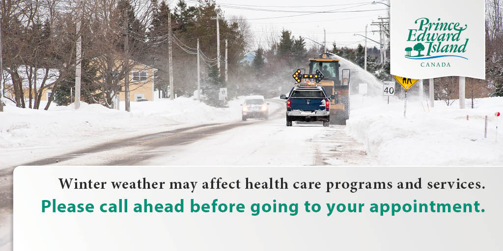 It's a storm day, PEI. A number of our programs and services have cancelled appointments for today. Please check the list at http://www.princeedwardisland.ca before leaving the house or call ahead to confirm if you appointment is going ahead. @InfoPEI @CBCPEI @Ocean100News @PEIGuardian